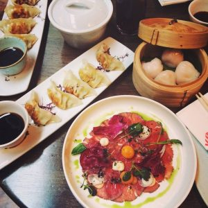 Image of Beef Carpaccio, Pot Stickers and Steamed Prawn Dumplings