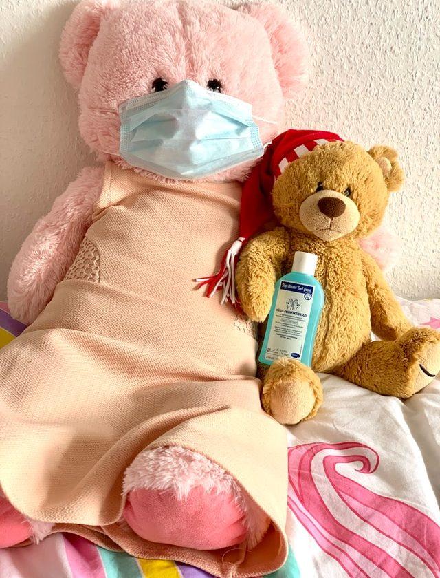 Teddy bear wearing a mask