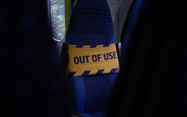 out of use sign on passenger seat