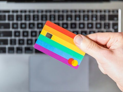 online shopping with laptop and card images