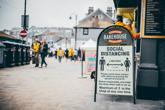 social distance sign in Cornwall UK