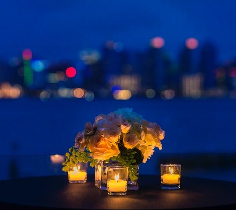 Candlelight dinner table in San Diego