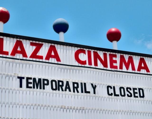 Sign of temporarily closed at a cinema